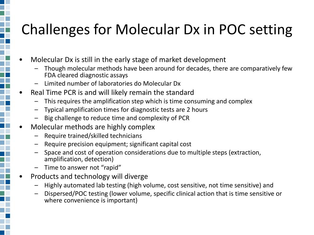 Challenges for Molecular Dx in POC setting