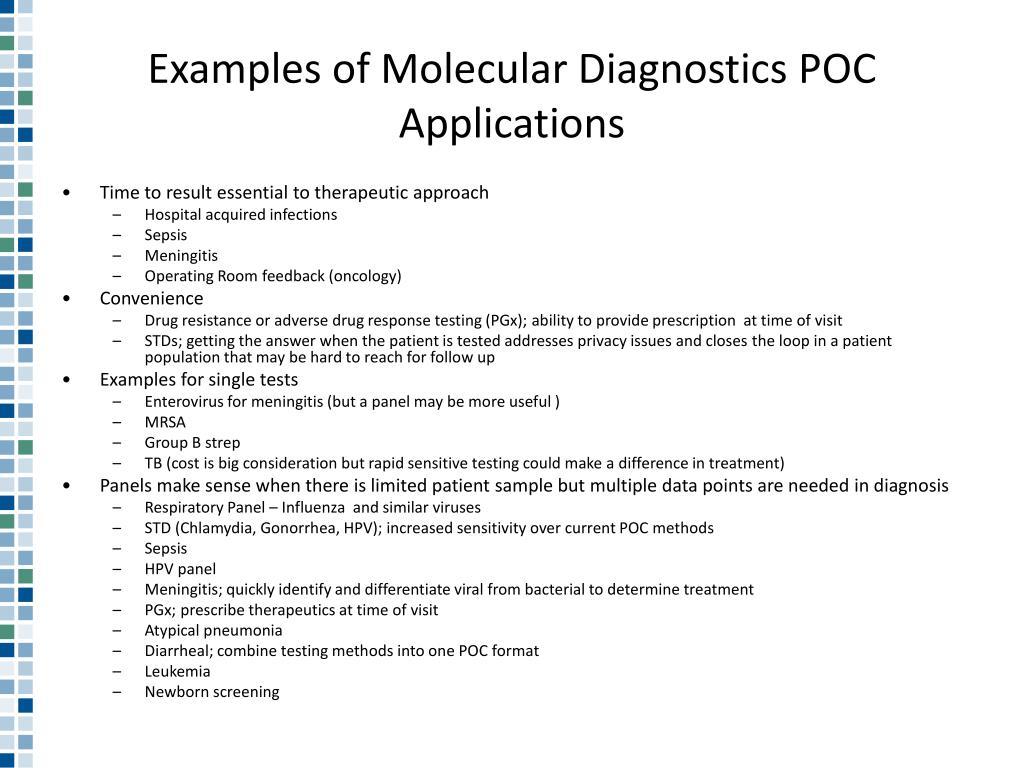 Examples of Molecular Diagnostics POC Applications