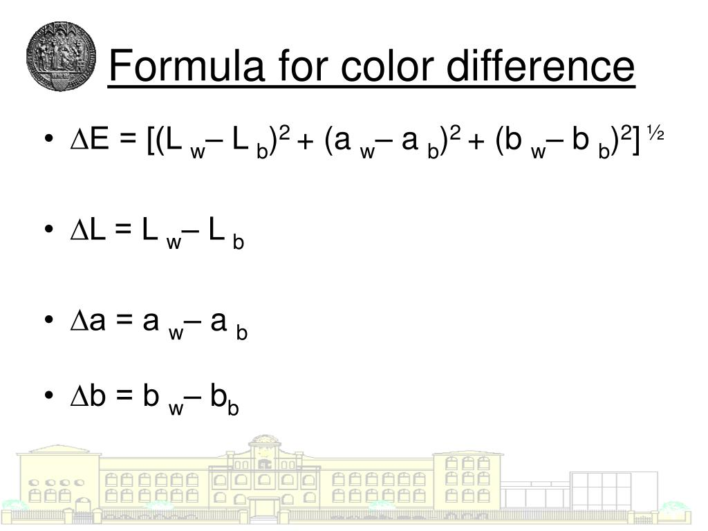 Formula for color difference