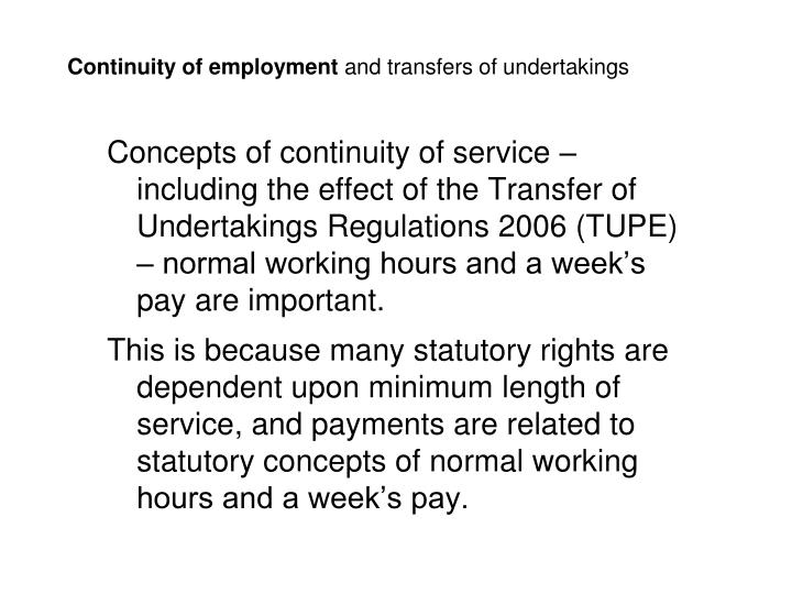 Continuity of employment and transfers of undertakings