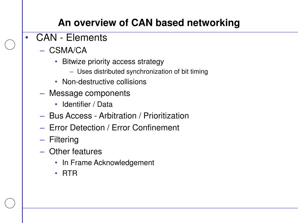 An overview of CAN based networking