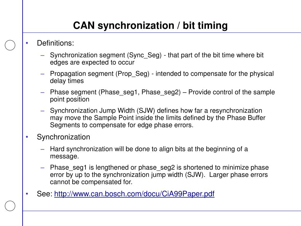 CAN synchronization / bit timing