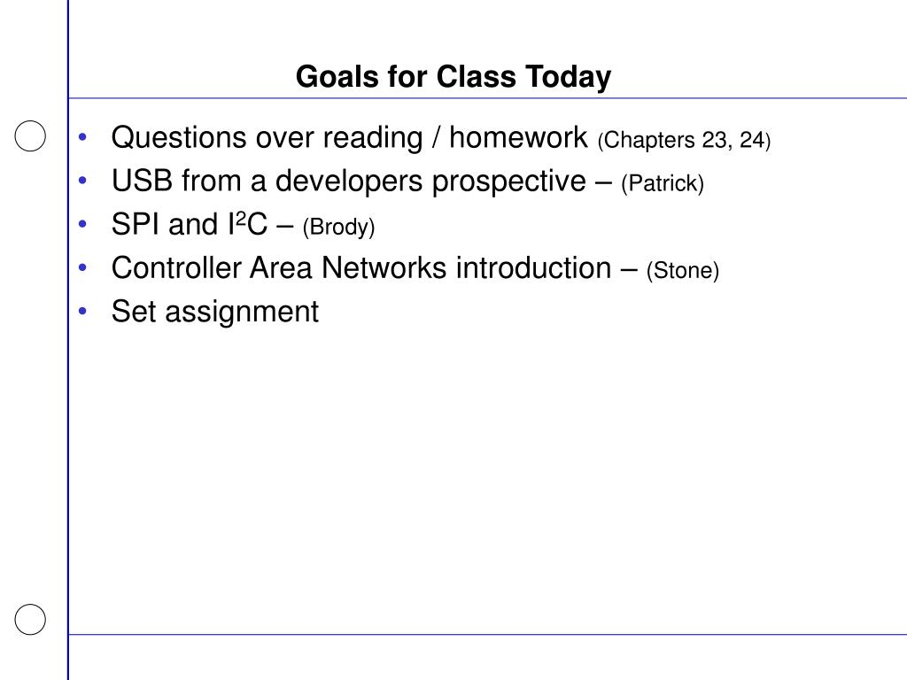 Goals for Class Today