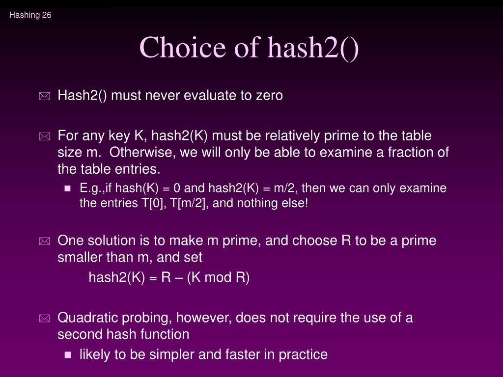 Choice of hash2()