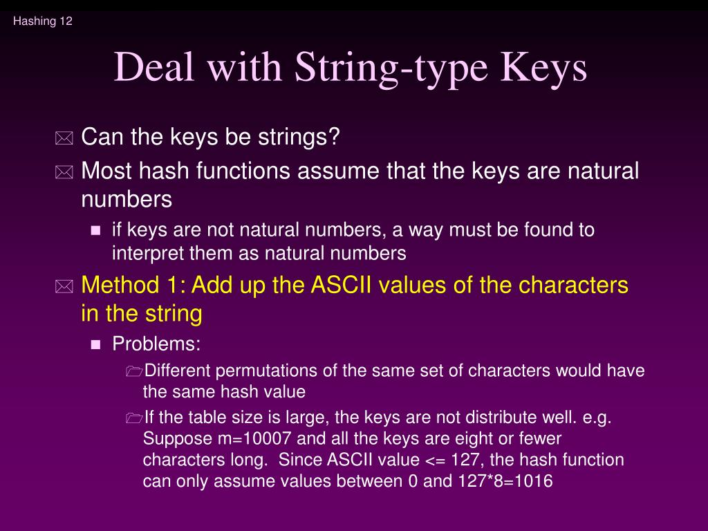 Deal with String-type Keys