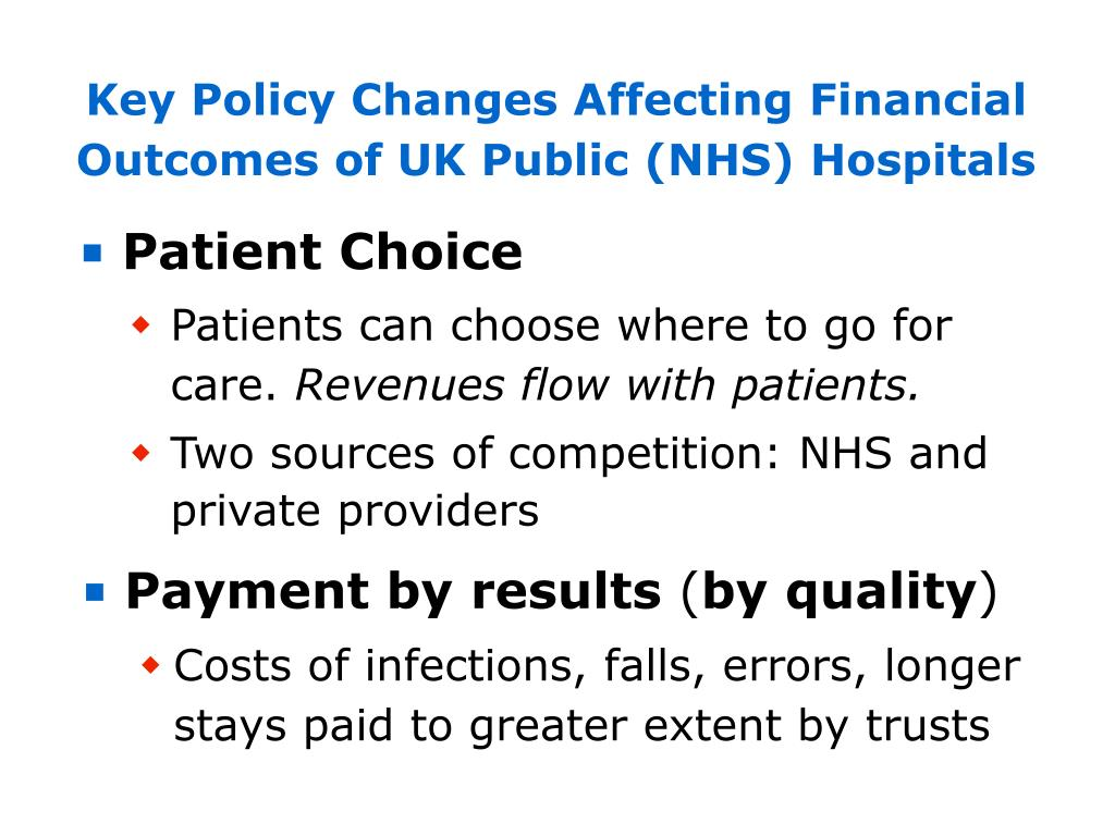 Key Policy Changes Affecting Financial Outcomes of UK Public (NHS) Hospitals