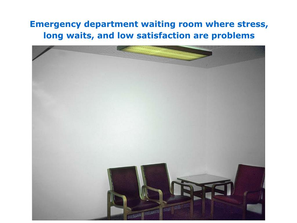 Emergency department waiting room where stress, long waits, and low satisfaction are problems