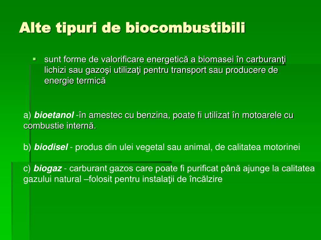 Alte tipuri de biocombustibili