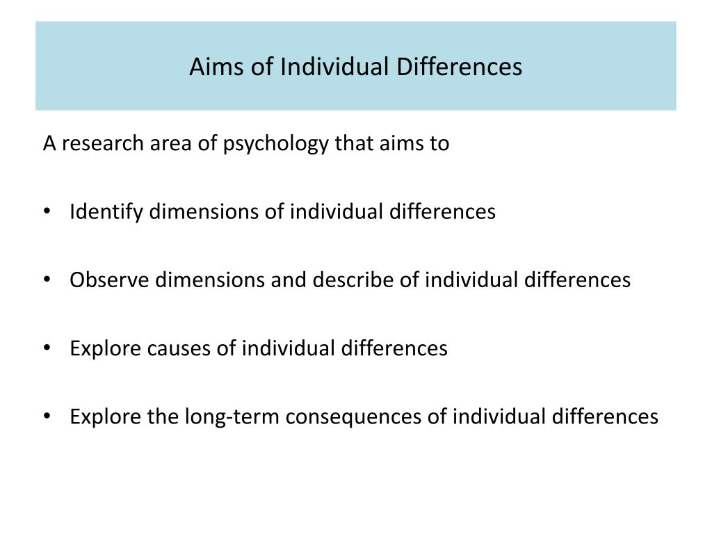 research in individual differences The aim of this lesson element is to provide a series of activities that will support  students understanding of the individual differences area and the research.