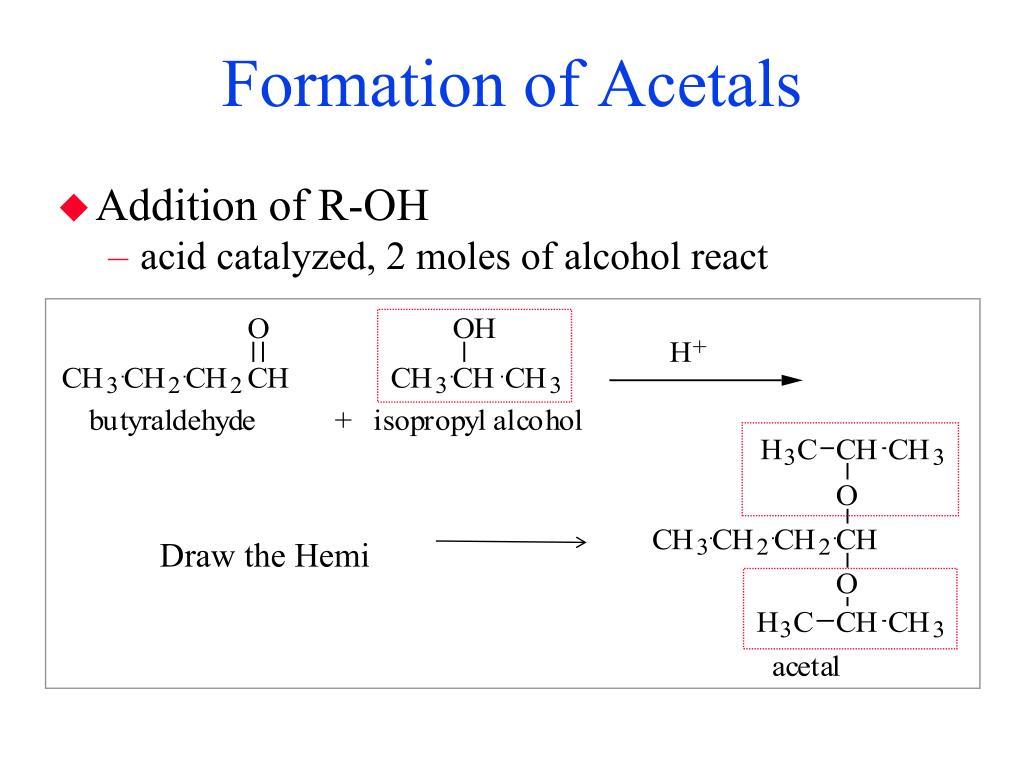 Formation of Acetals