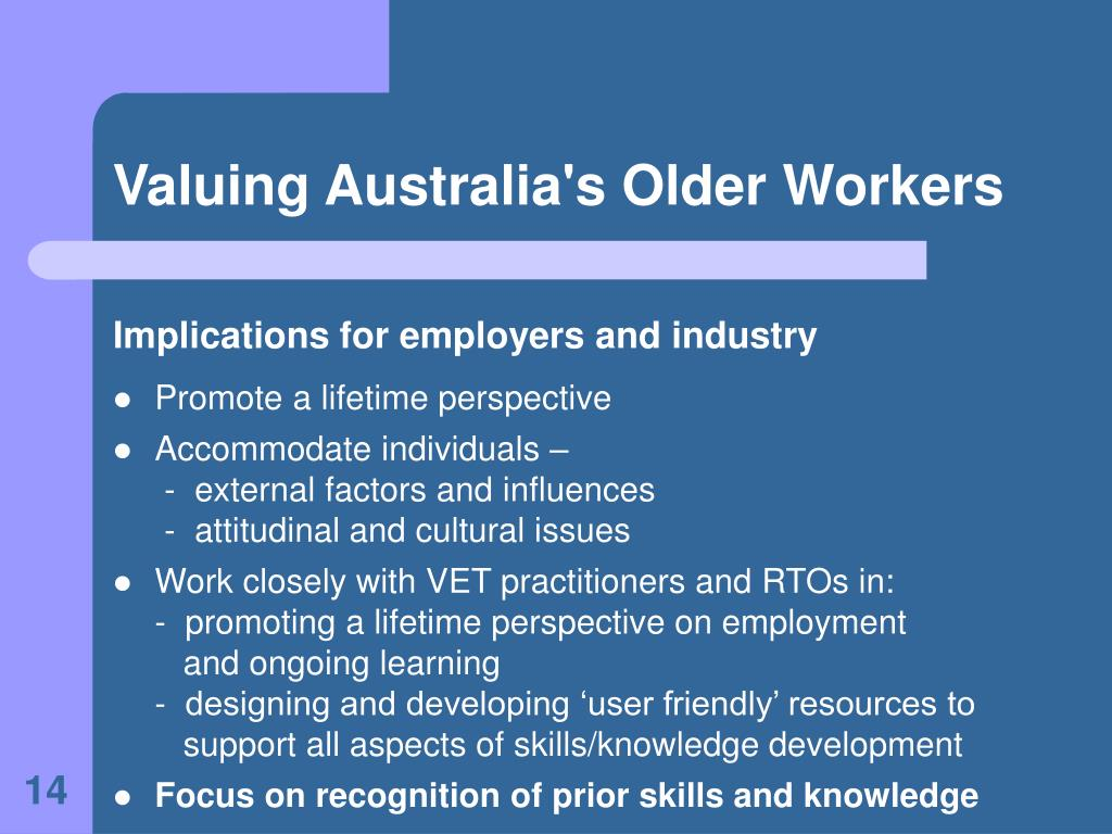 Valuing Australia's Older Workers