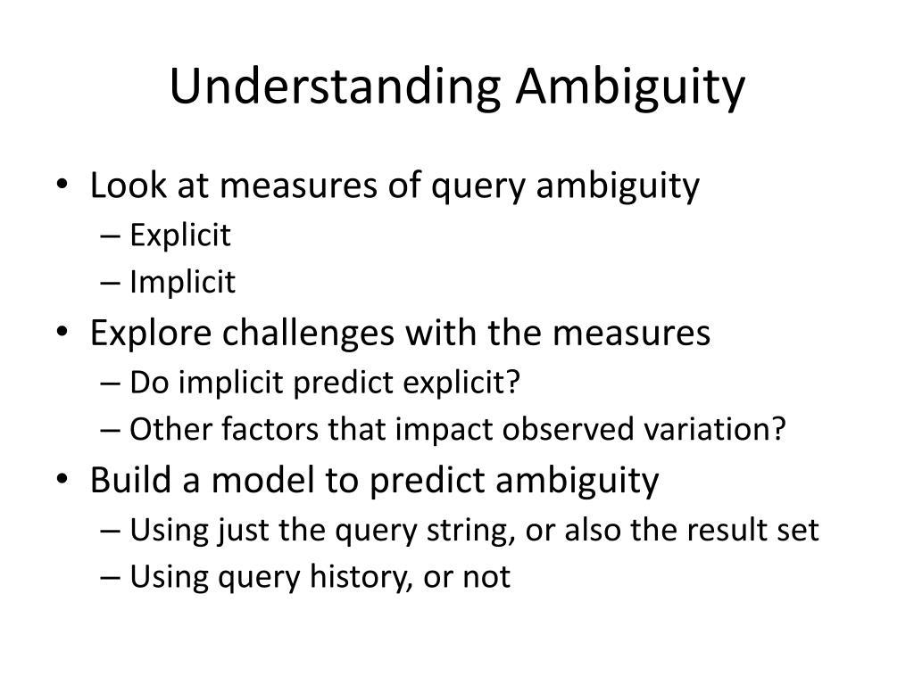 Understanding Ambiguity
