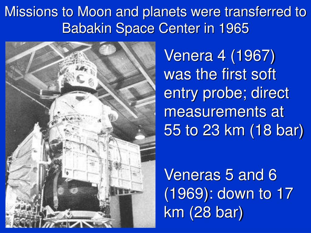 Missions to Moon and planets were transferred to Babakin Space Center in 1965