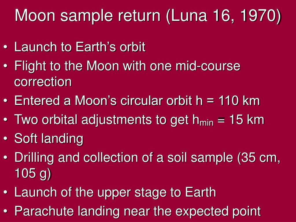 Moon sample return (Luna 16, 1970)