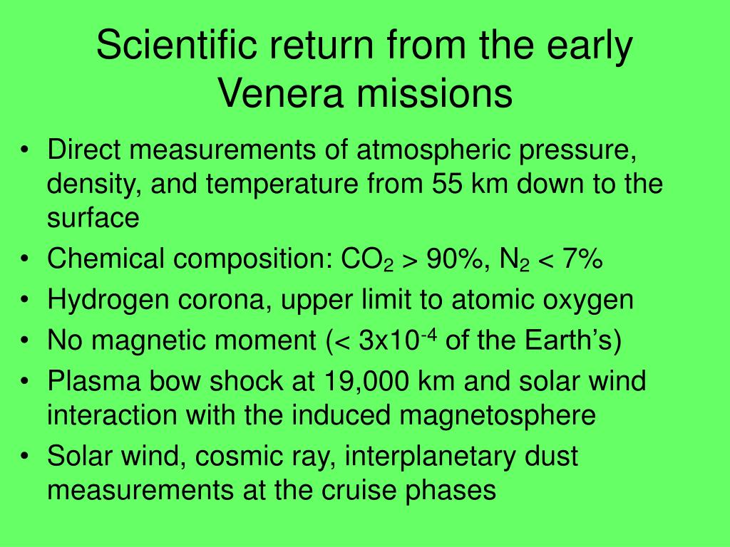 Scientific return from the early Venera missions