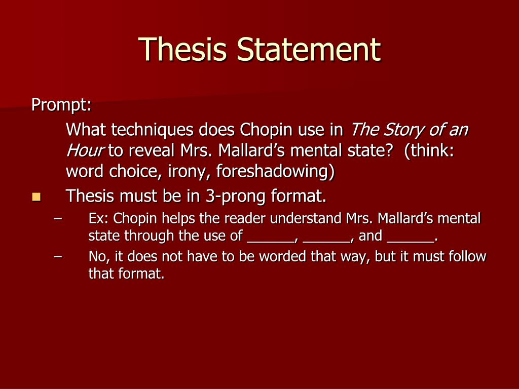 good thesis story of an hour irony