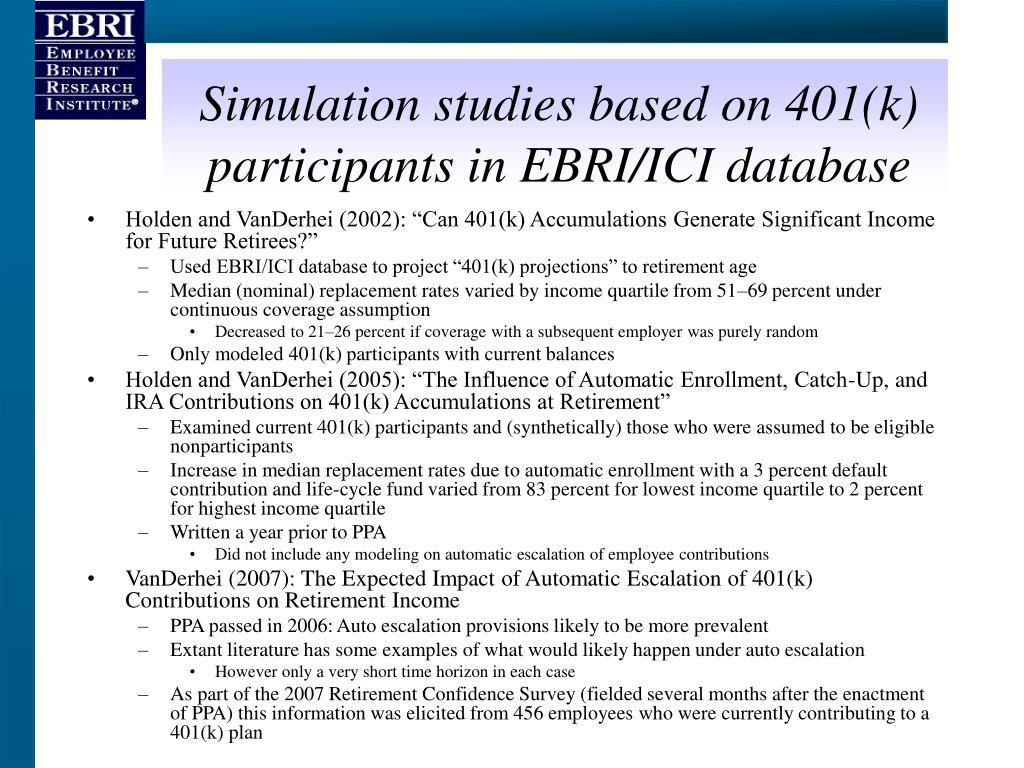 Simulation studies based on 401(k) participants in EBRI/ICI database