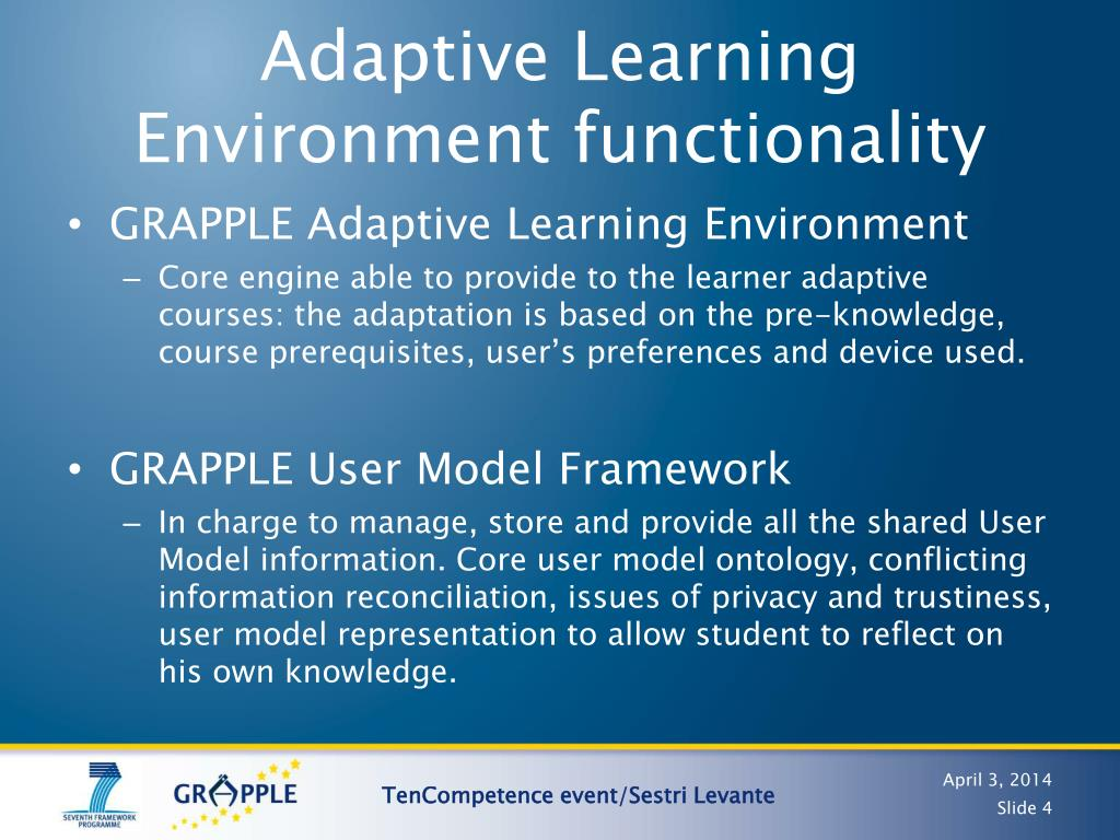 Adaptive Learning Environment functionality