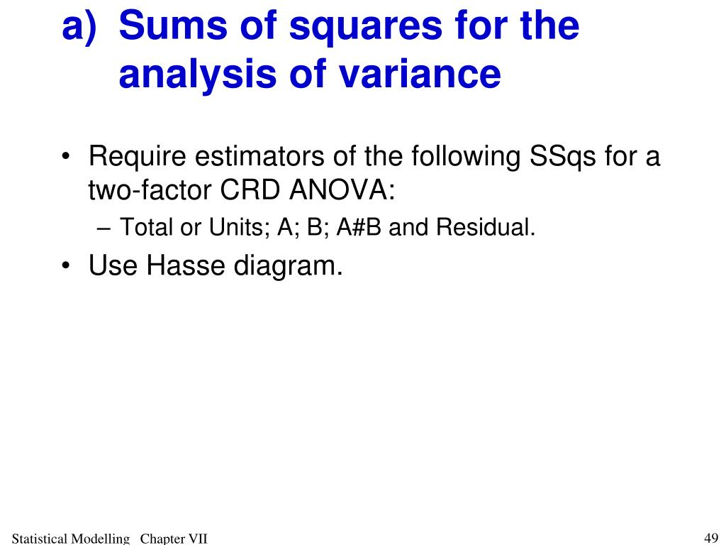 a)Sums of squares for the analysis of variance