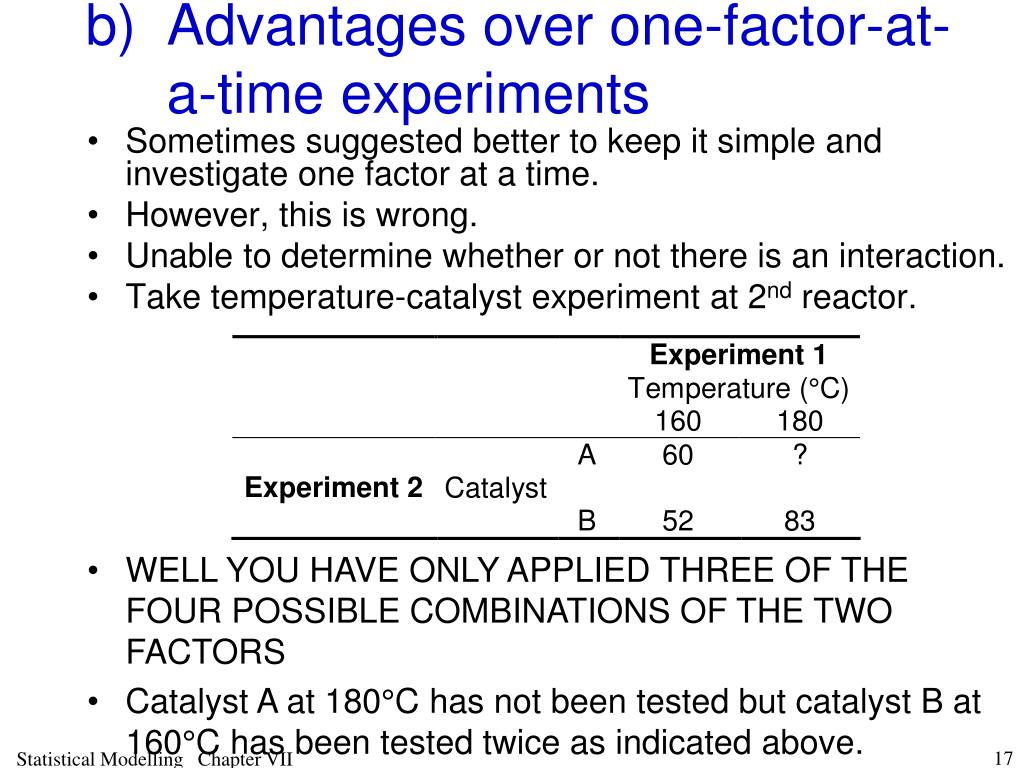 b)Advantages over one-factor-at-a-time experiments