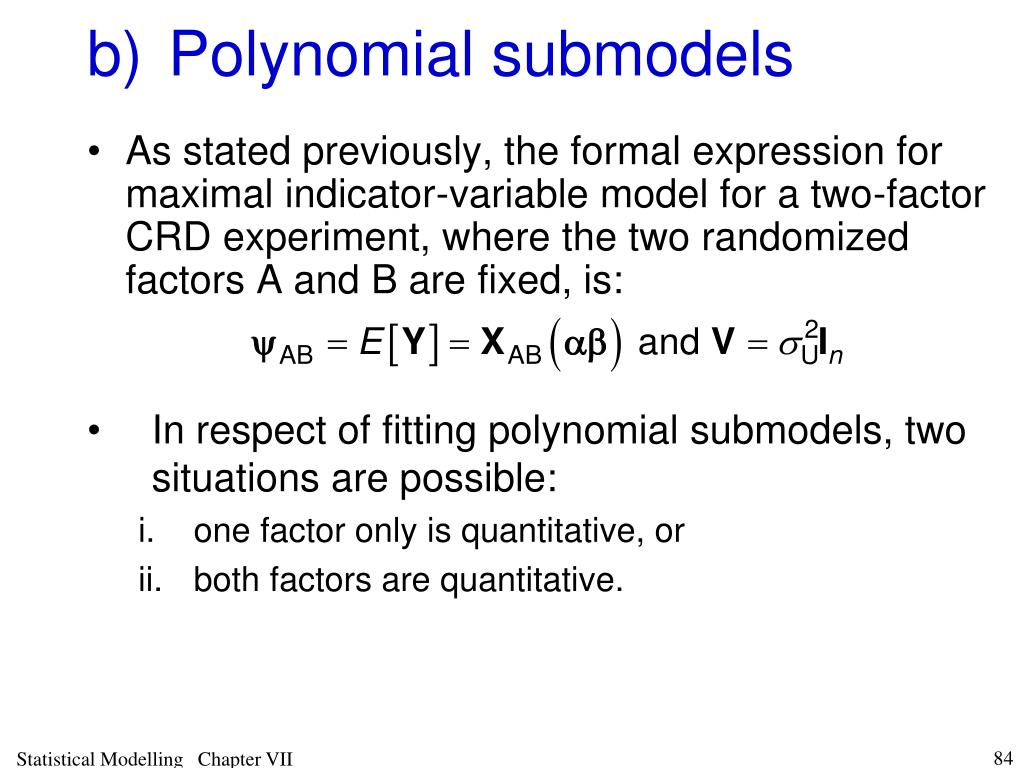 b)Polynomial submodels