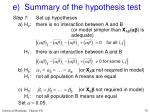 e summary of the hypothesis test