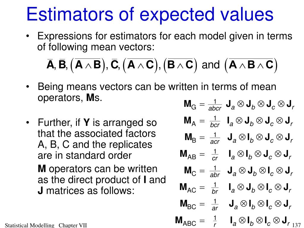 Estimators of expected values