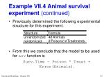 example vii 4 animal survival experiment continued