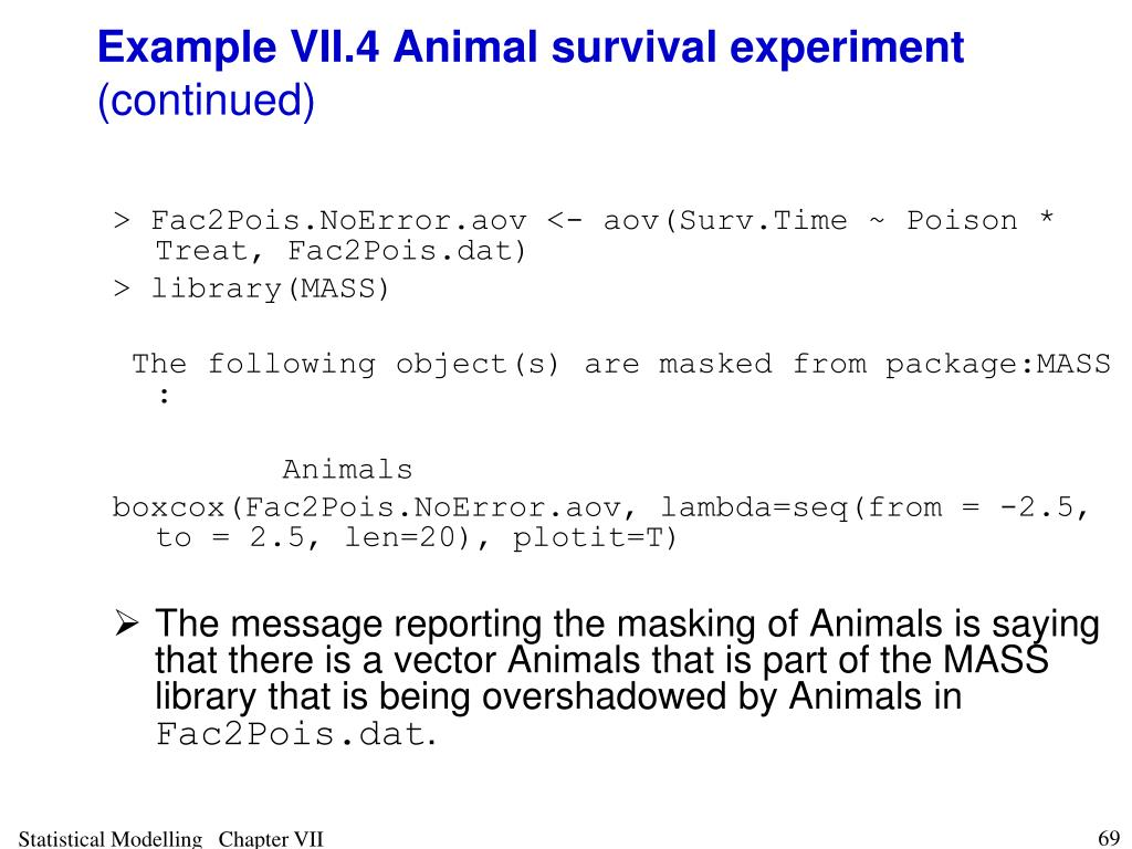 Example VII.4 Animal survival experiment