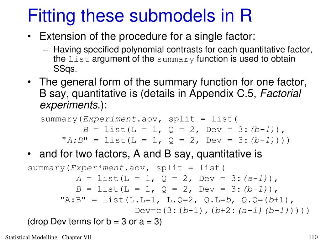 Fitting these submodels in R