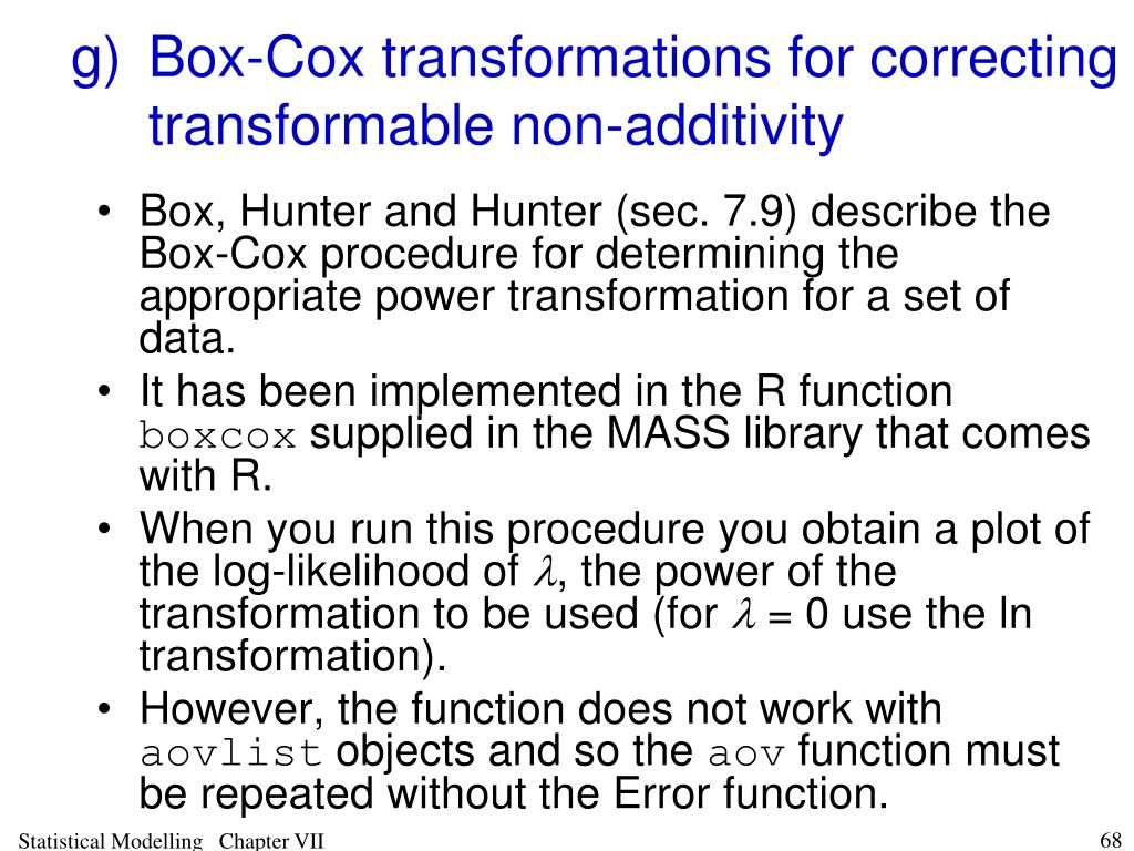 g)Box-Cox transformations for correcting transformable non-additivity