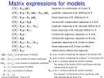 matrix expressions for models