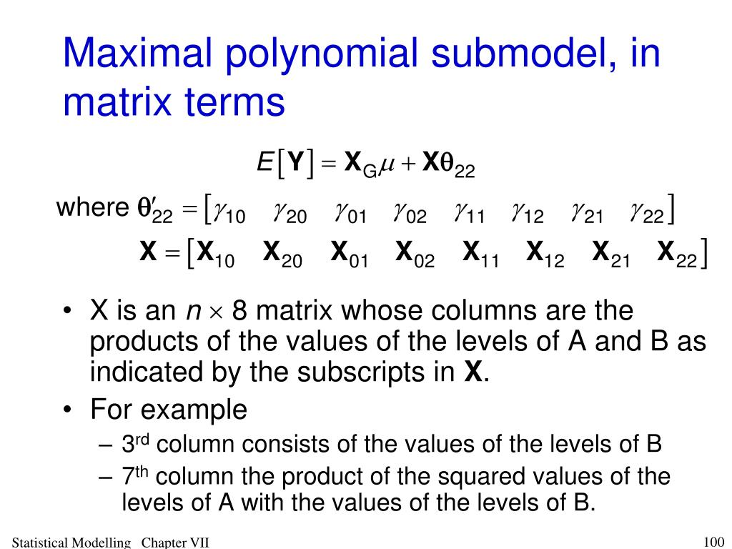 Maximal polynomial submodel, in matrix terms