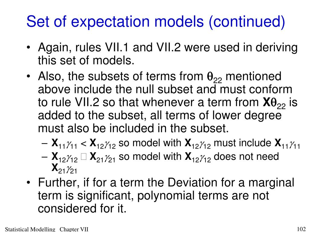 Set of expectation models (continued)