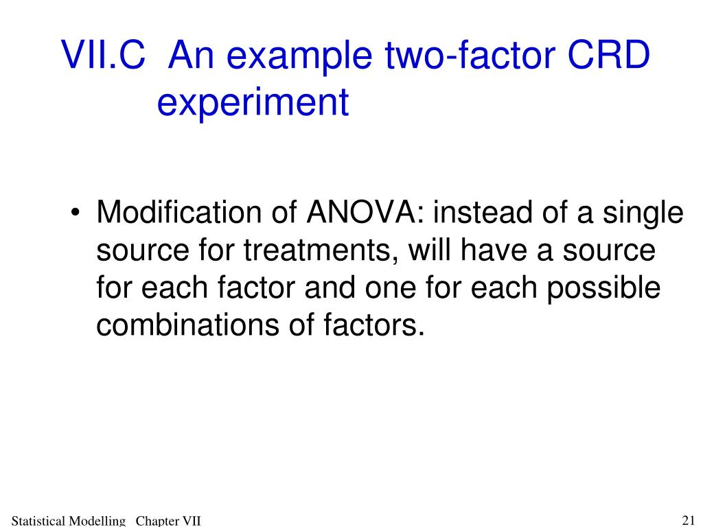 VII.C An example two-factor CRD experiment