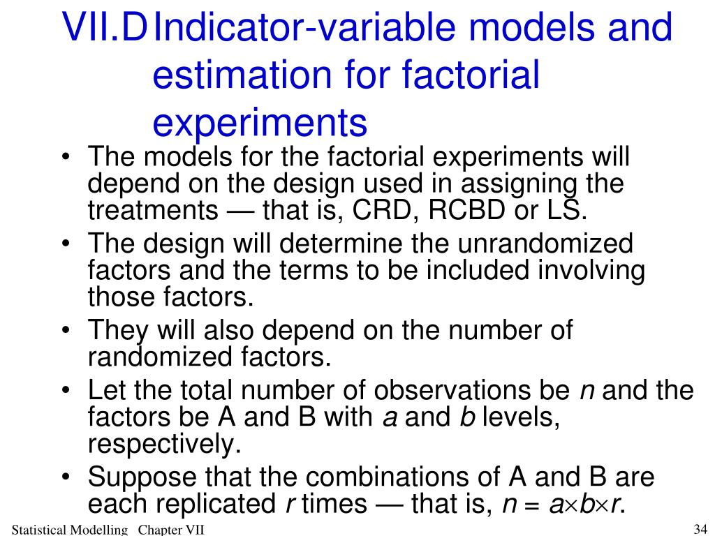 VII.DIndicator-variable models and estimation for factorial experiments