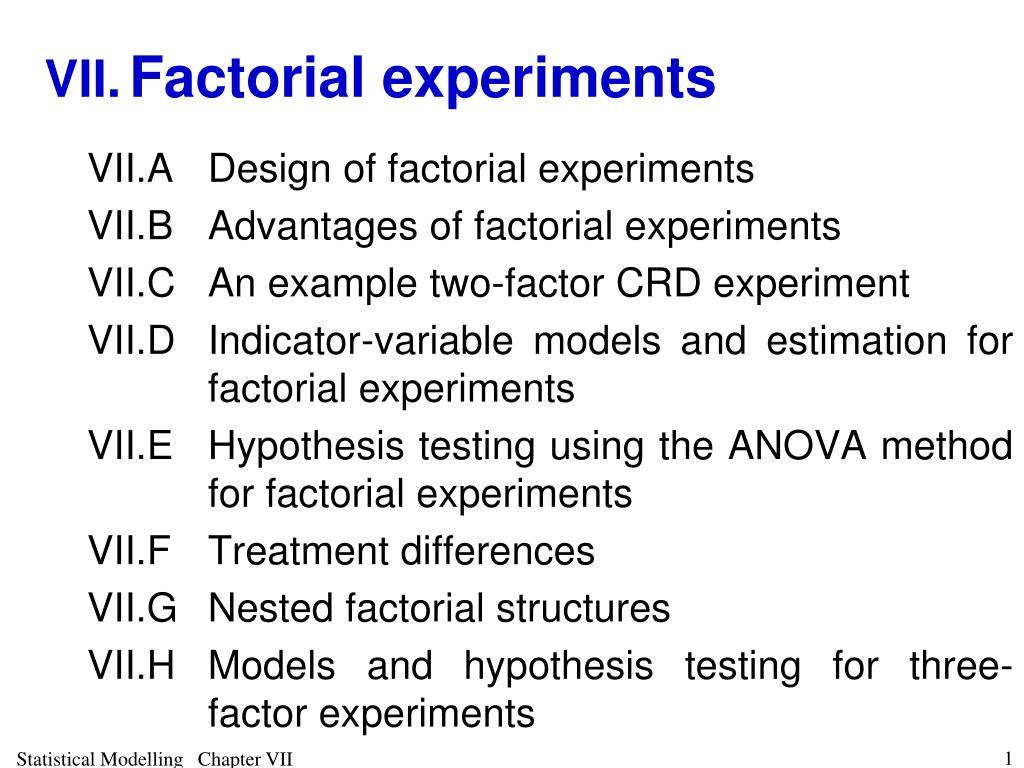 vii factorial experiments