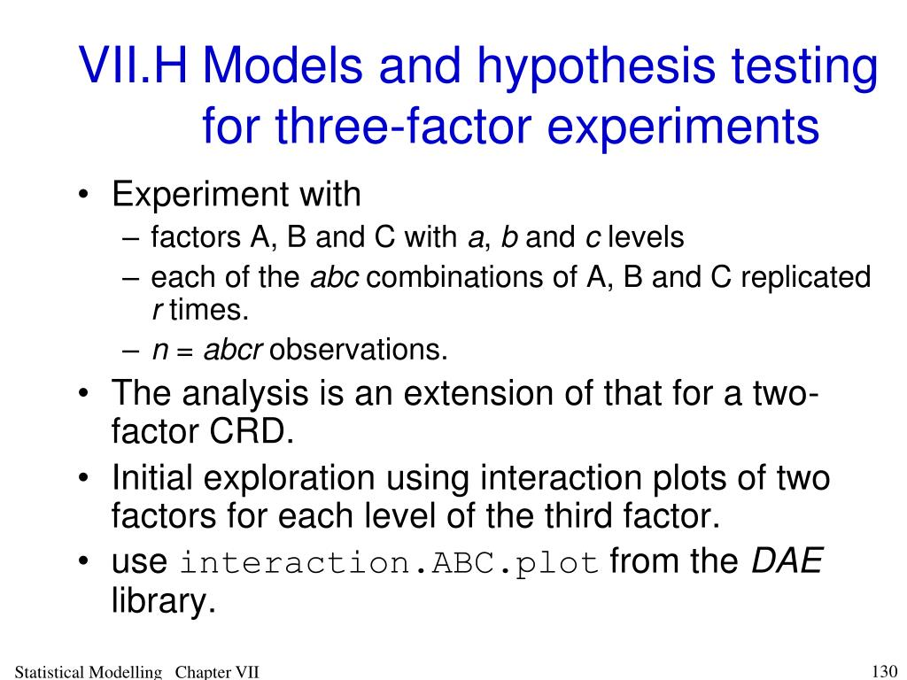VII.HModels and hypothesis testing for three-factor experiments