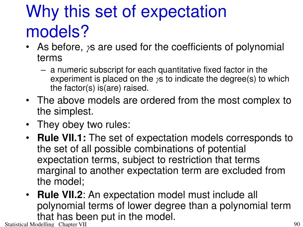 Why this set of expectation models?