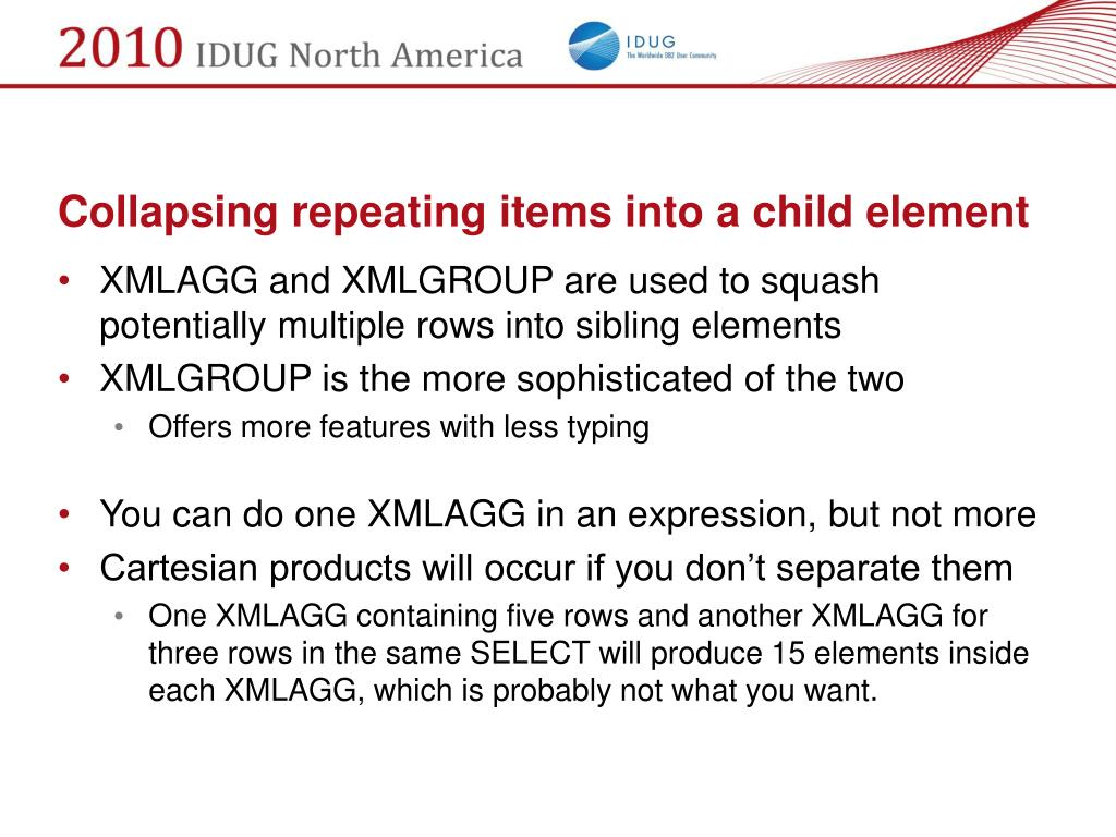 Collapsing repeating items into a child element
