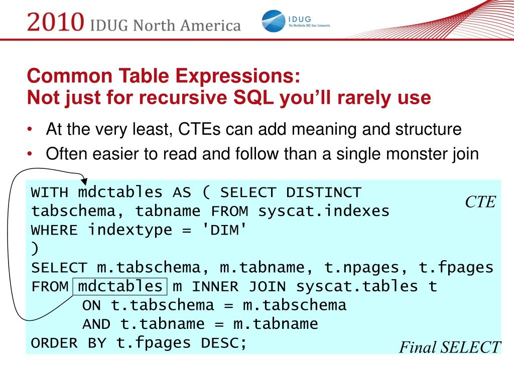 Common Table Expressions: