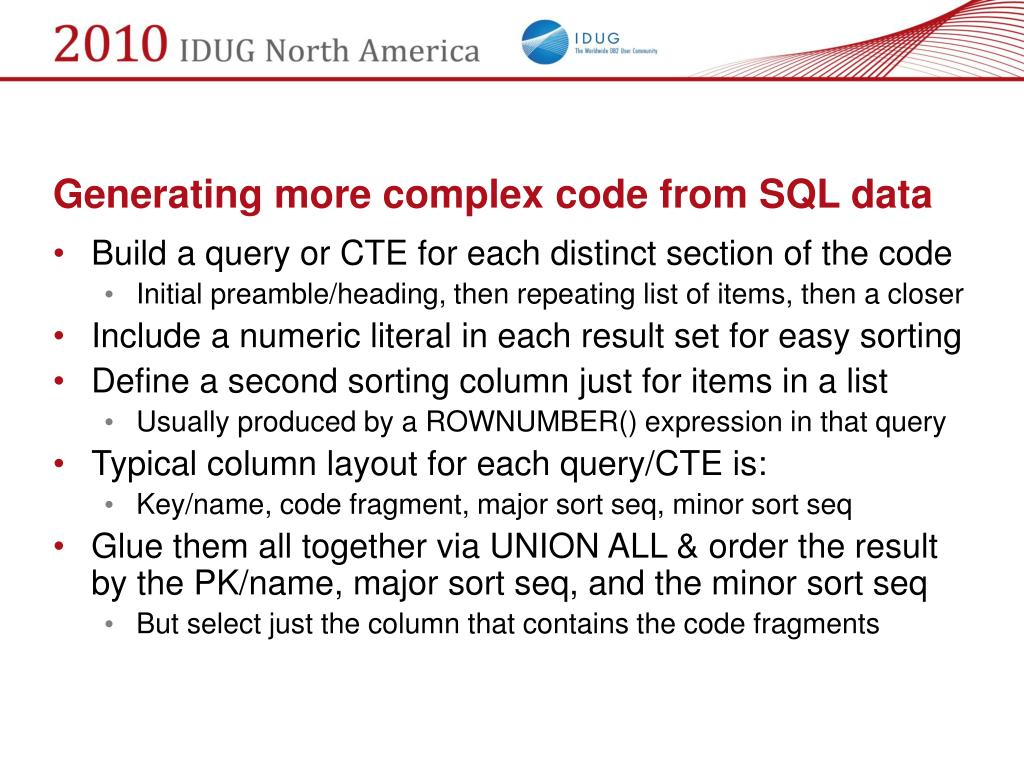Generating more complex code from SQL data