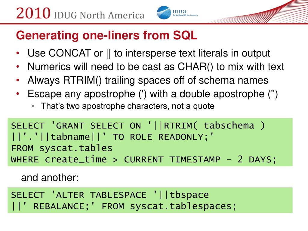 Generating one-liners from SQL