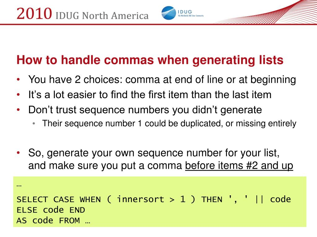 How to handle commas when generating lists