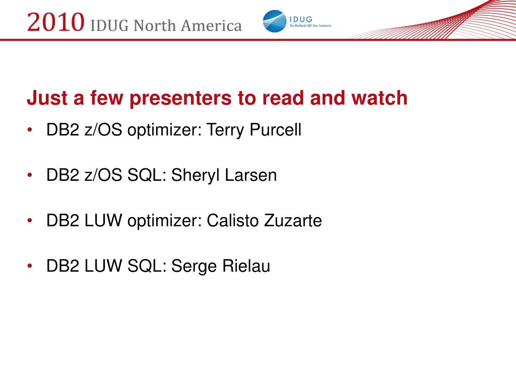 Just a few presenters to read and watch