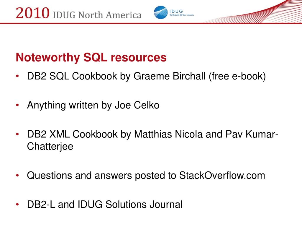 Noteworthy SQL resources
