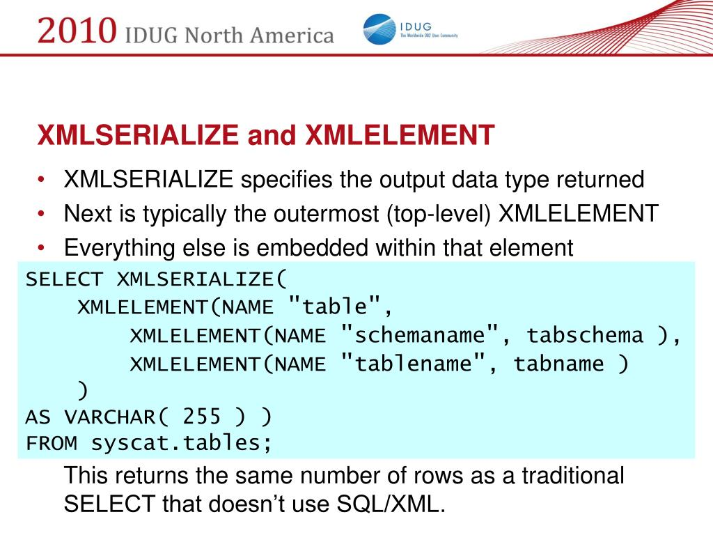 XMLSERIALIZE and XMLELEMENT