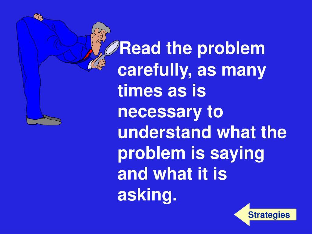 Read the problem
