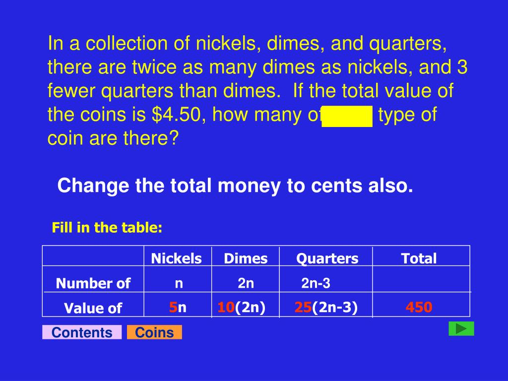 In a collection of nickels, dimes, and quarters, there are twice as many dimes as nickels, and 3 fewer quarters than dimes.  If the total value of the coins is $4.50, how many of each type of coin are there?