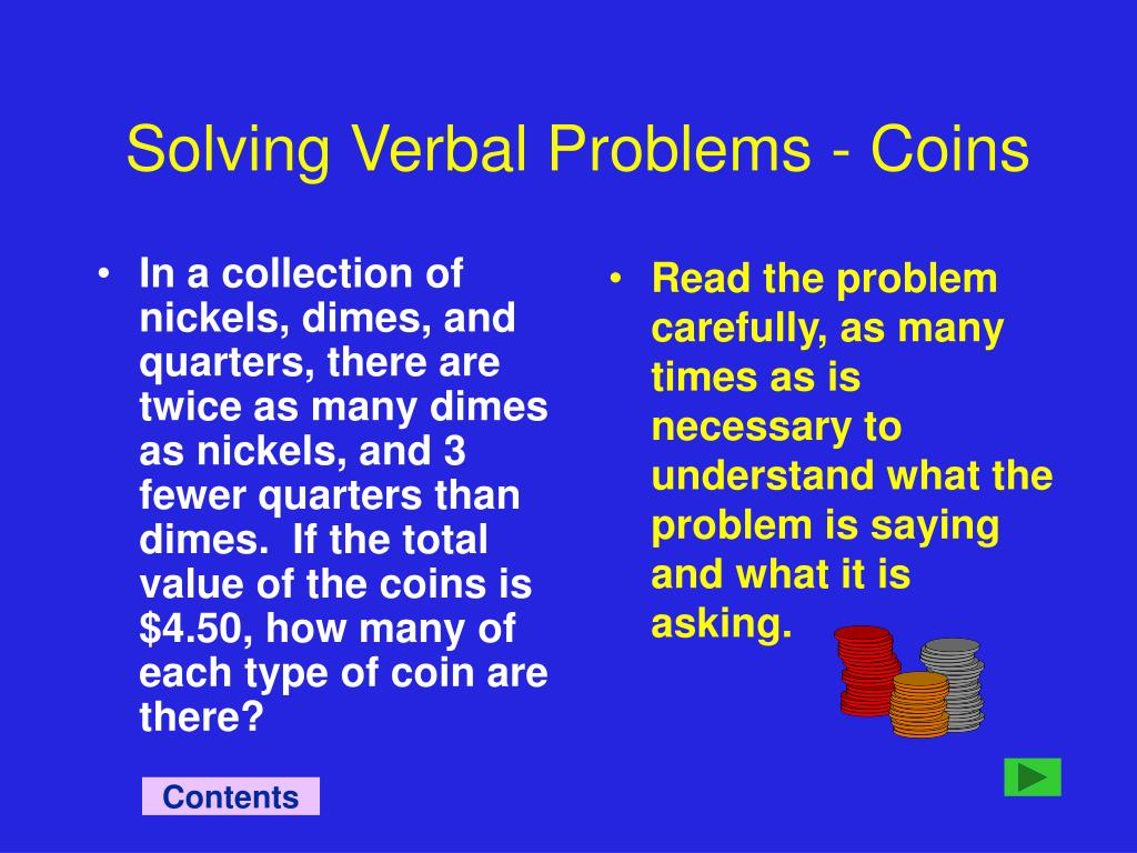 Solving Verbal Problems - Coins